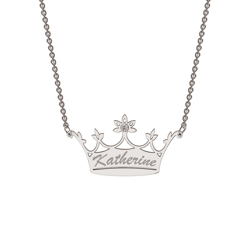 Sterling silver classic crown necklace with diamond