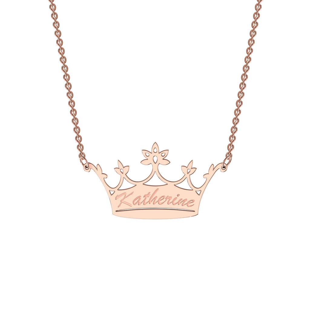 Rose gold classic crown necklace