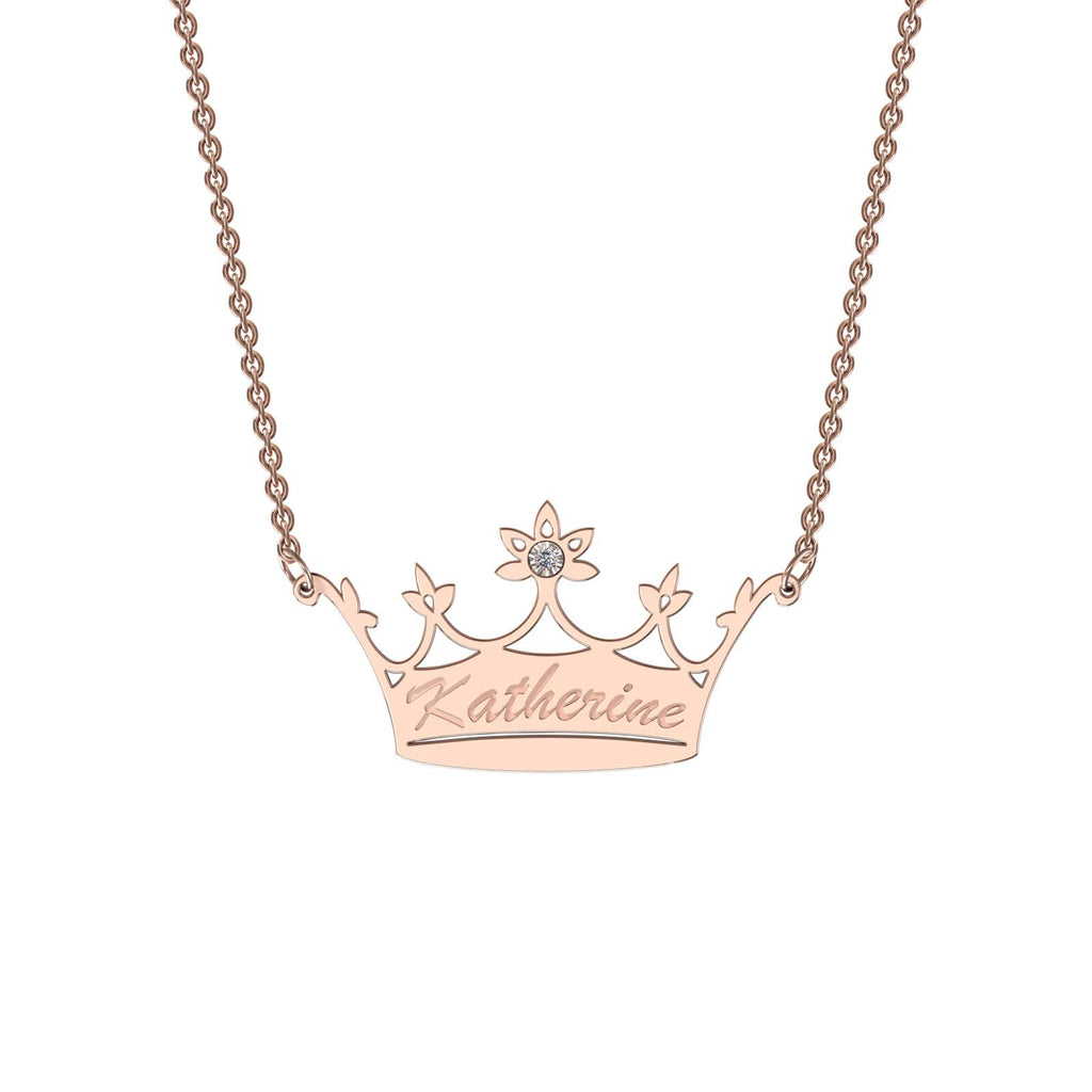 Rose gold classic crown necklace with diamond