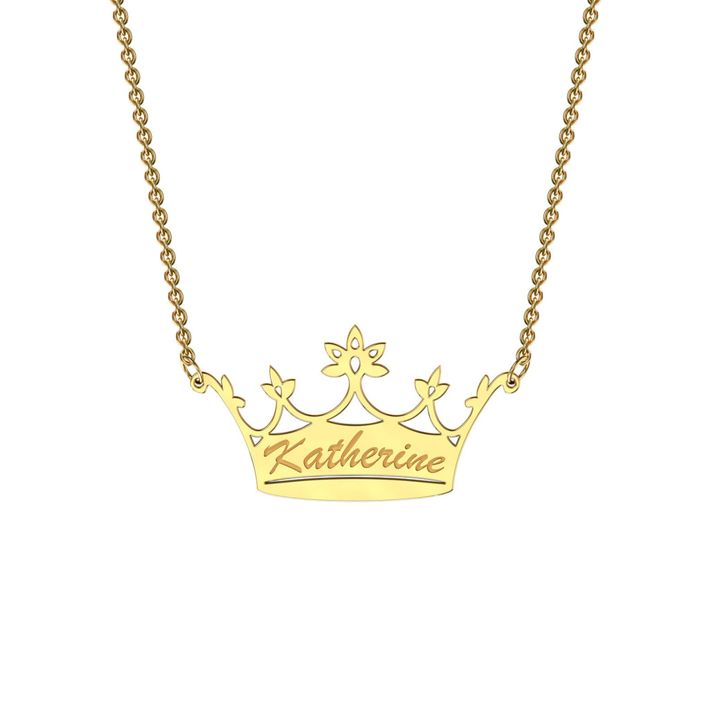 Yellow gold classic crown necklace