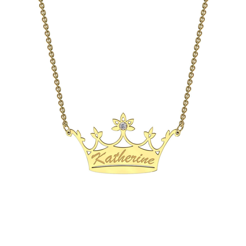 Yellow gold classic crown necklace with diamond