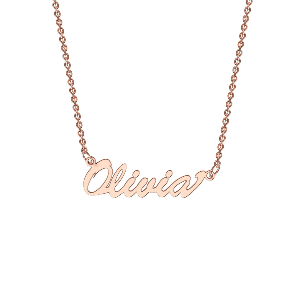 Rose gold classic name necklace