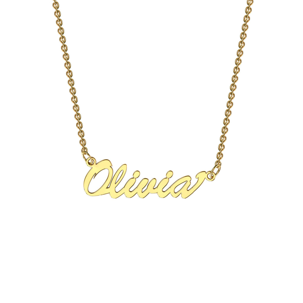 Yellow gold classic name necklace