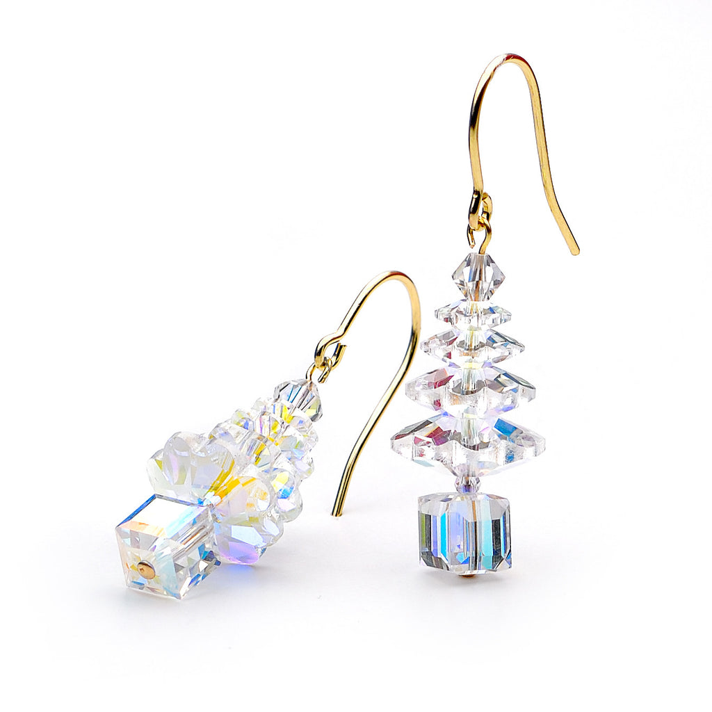 Gold and aurora borealis Christmas tree earrings