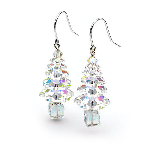 Silver and aurora borealis Christmas tree earrings