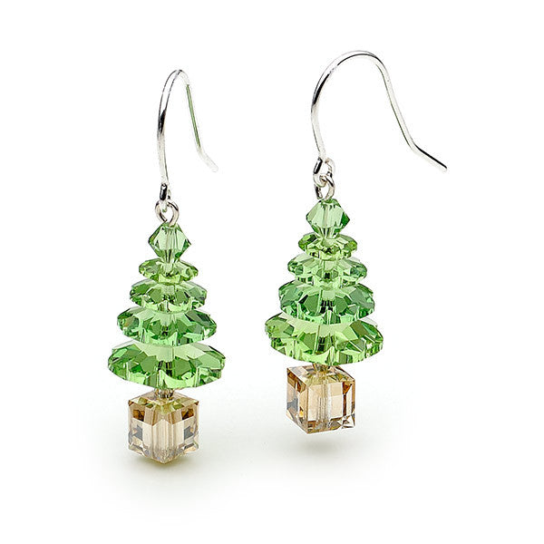 Silver and green Christmas tree earrings
