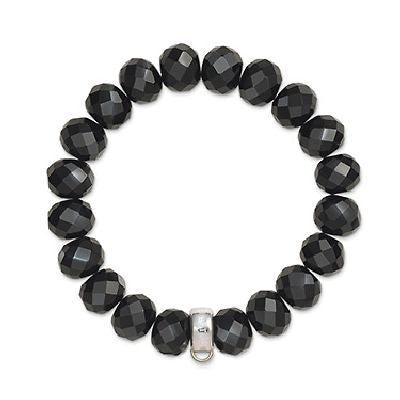Charm Club faceted oval obsidian bracelet with silver carrier