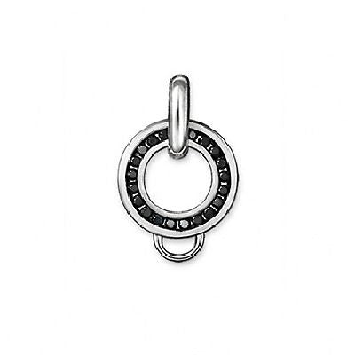 Charm Club silver charm carrier with black cubic zirconia