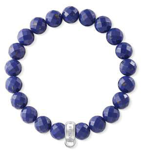 Charm Club lapis bead bracelet with silver carrier