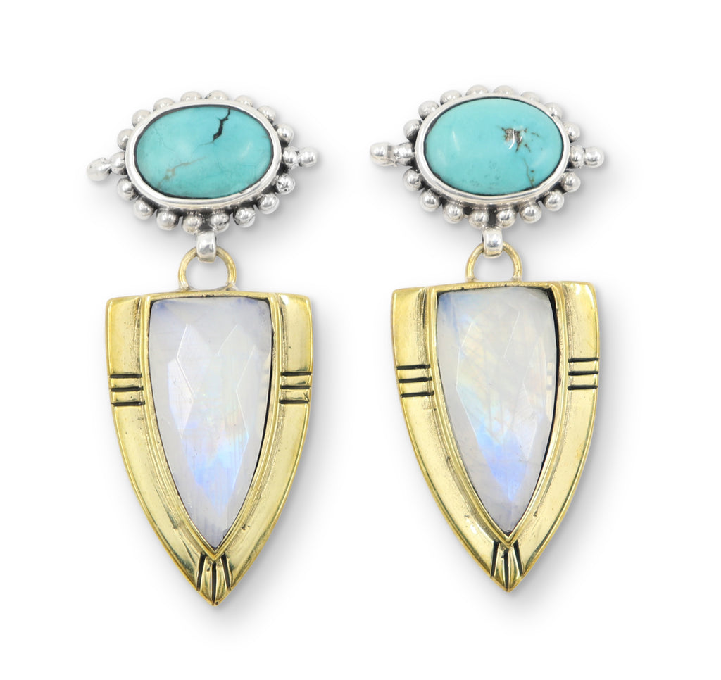 Toni May Cassius Earrings (Turquoise, Moonstone)