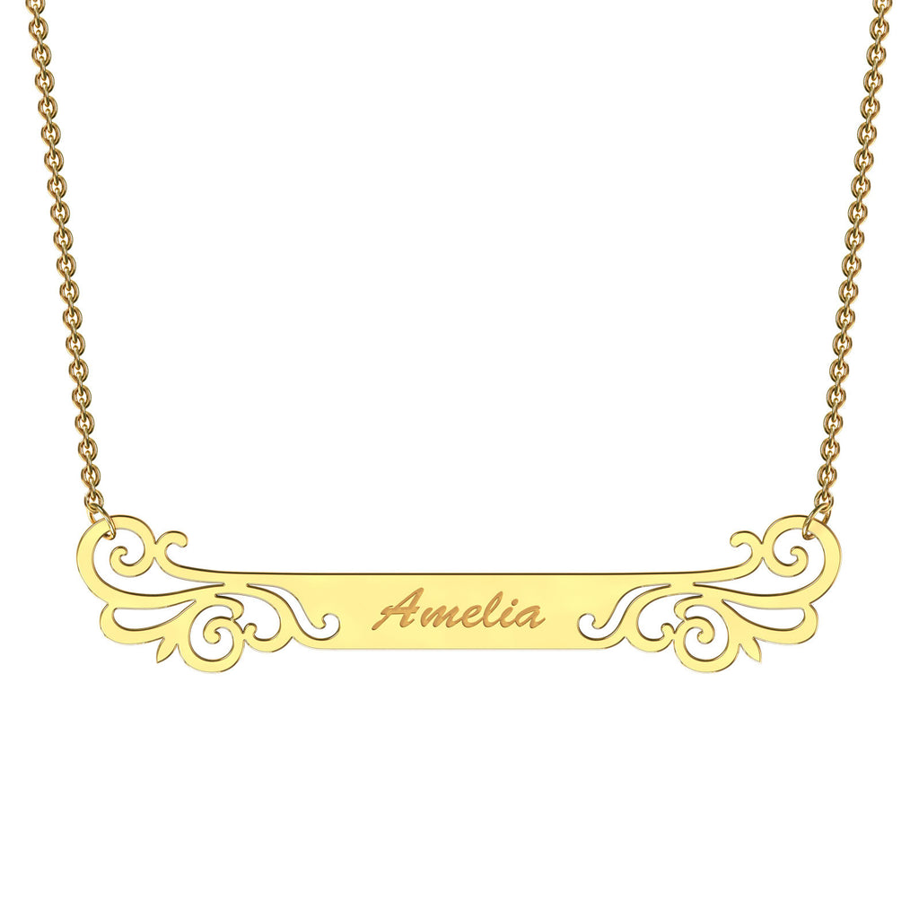 Yellow gold designer bar necklace