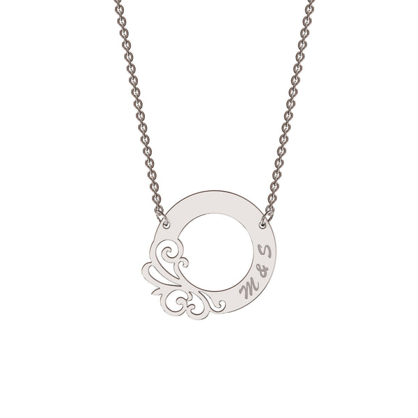 Sterling silver designer circle necklace