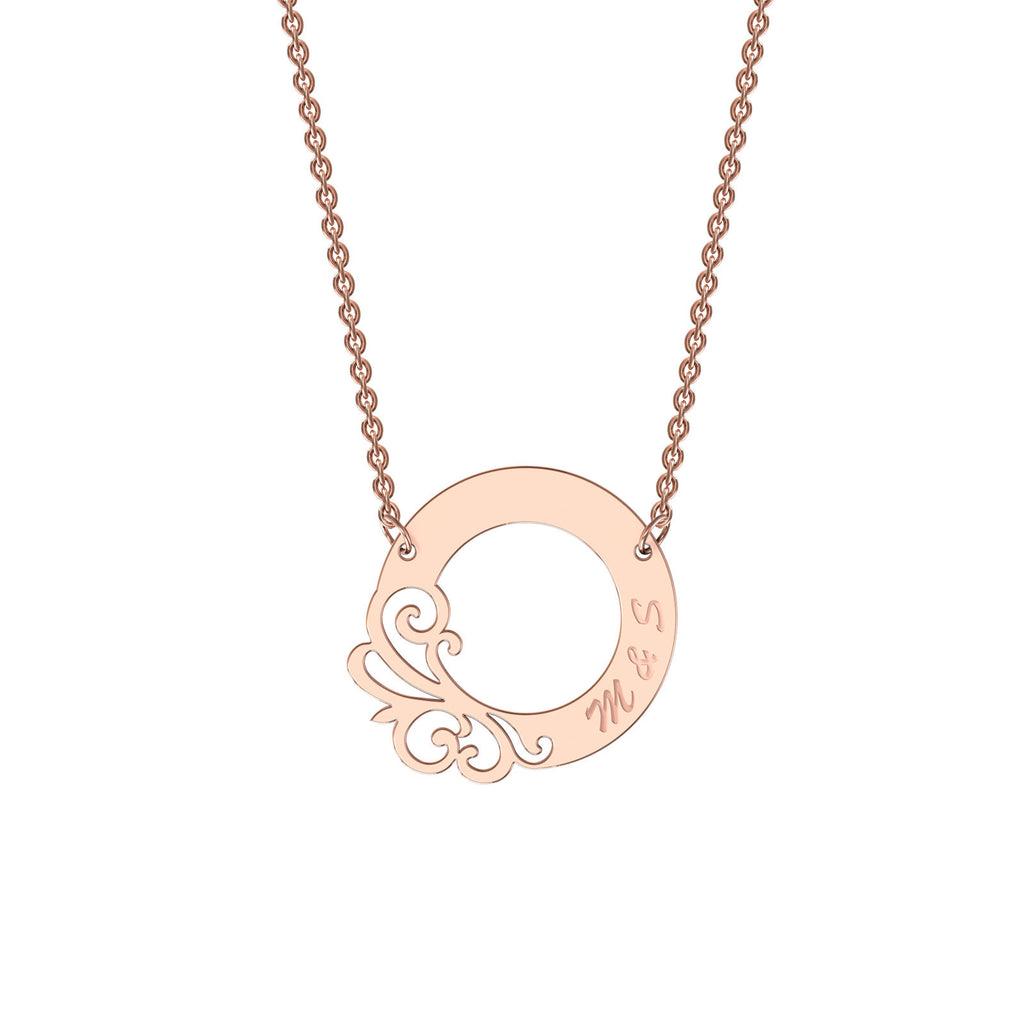 Rose gold designer circle necklace