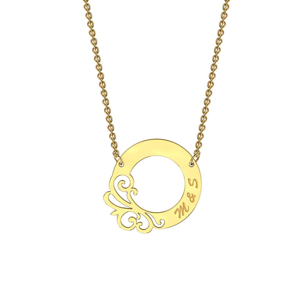 Yellow gold designer circle necklace