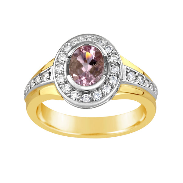 Gold, Morganite & Diamond Ring E1363TT