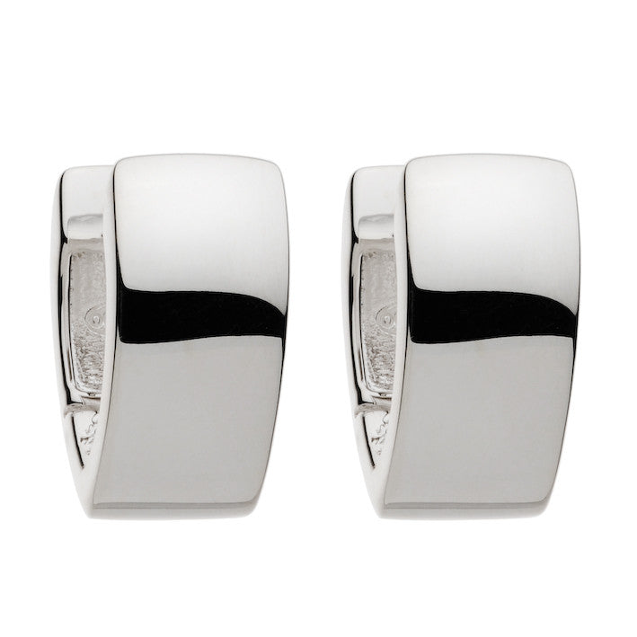 Najo v-shaped huggie earrings with a polished silver finish