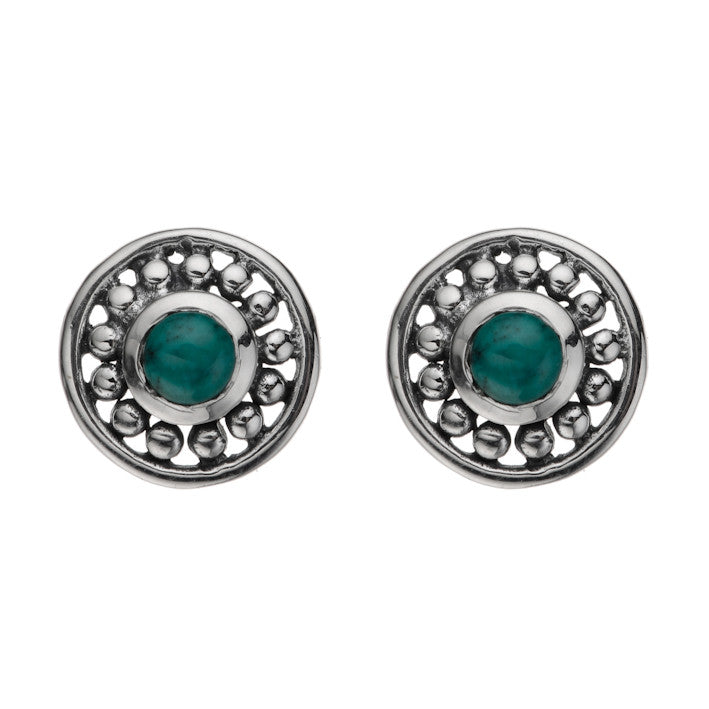 Najo oxidised silver stud earrings, with  round recon. turquoise stones