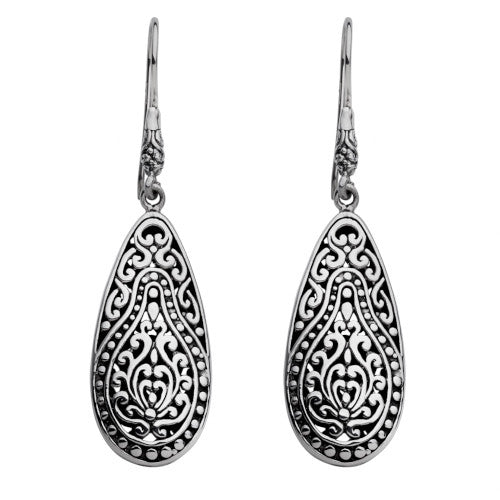 Najo detailed oxidised silver drop earrings in teardrop shape