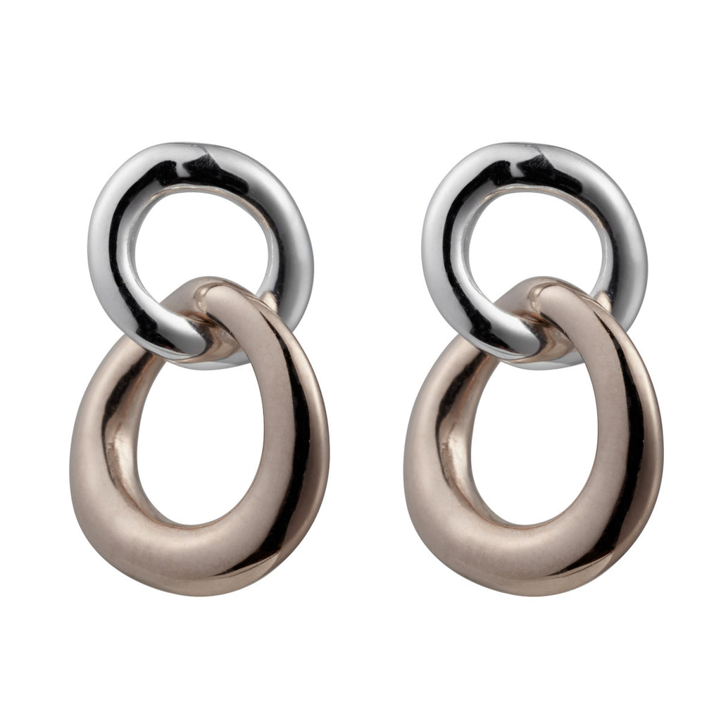 Najo silver and rose gold finish double loop earrings