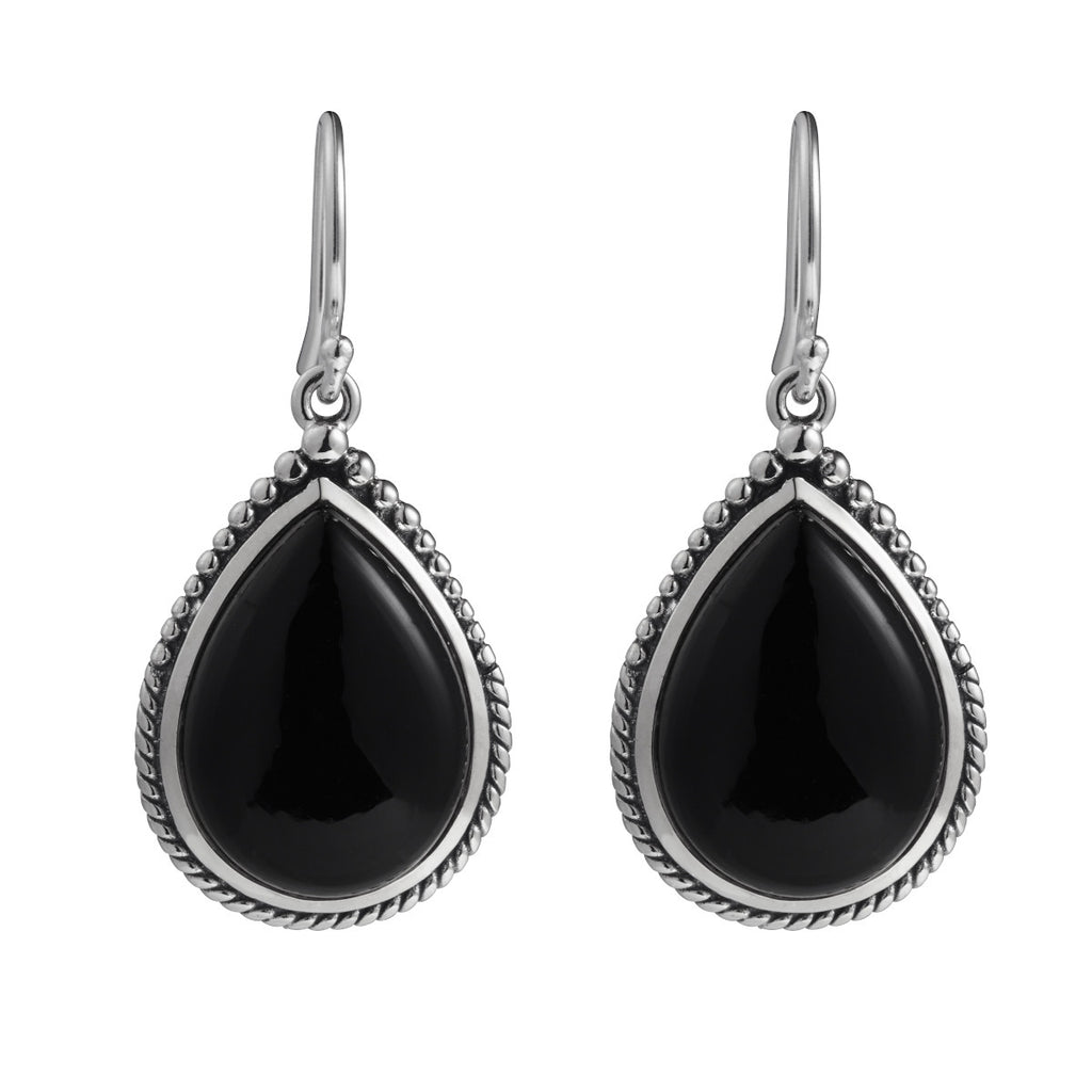 Najo silver and black agate drop earrings