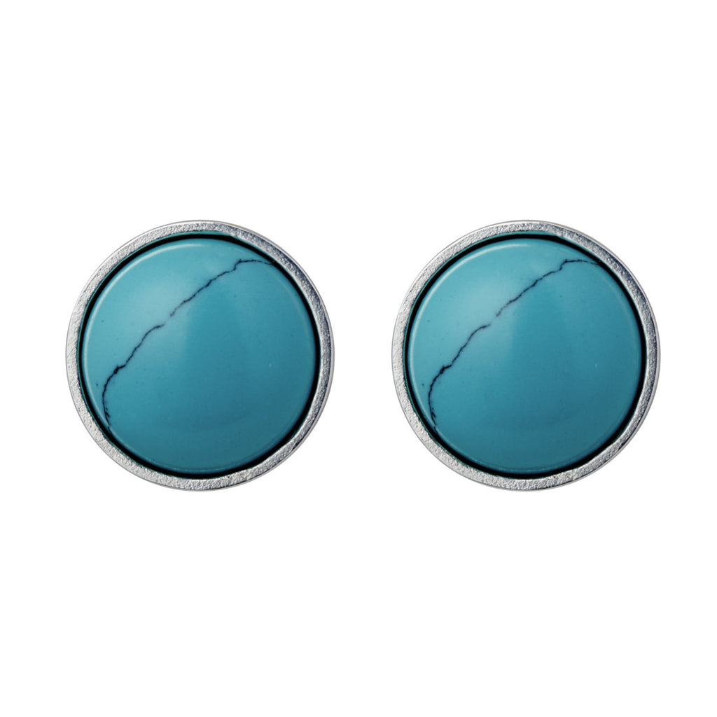 Najo silver studs with round recon. turquoise stones