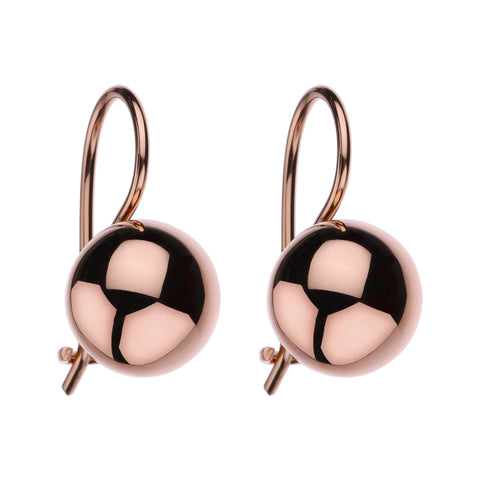 Najo 10mm Rose Euro Ball Earrings E5373