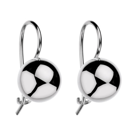 Najo 10mm Silver Euro Ball Earrings E5374