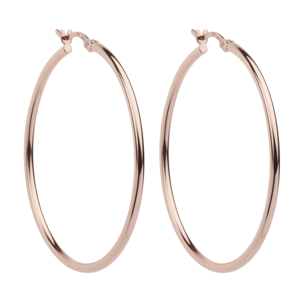 Rose finish hoop earrings