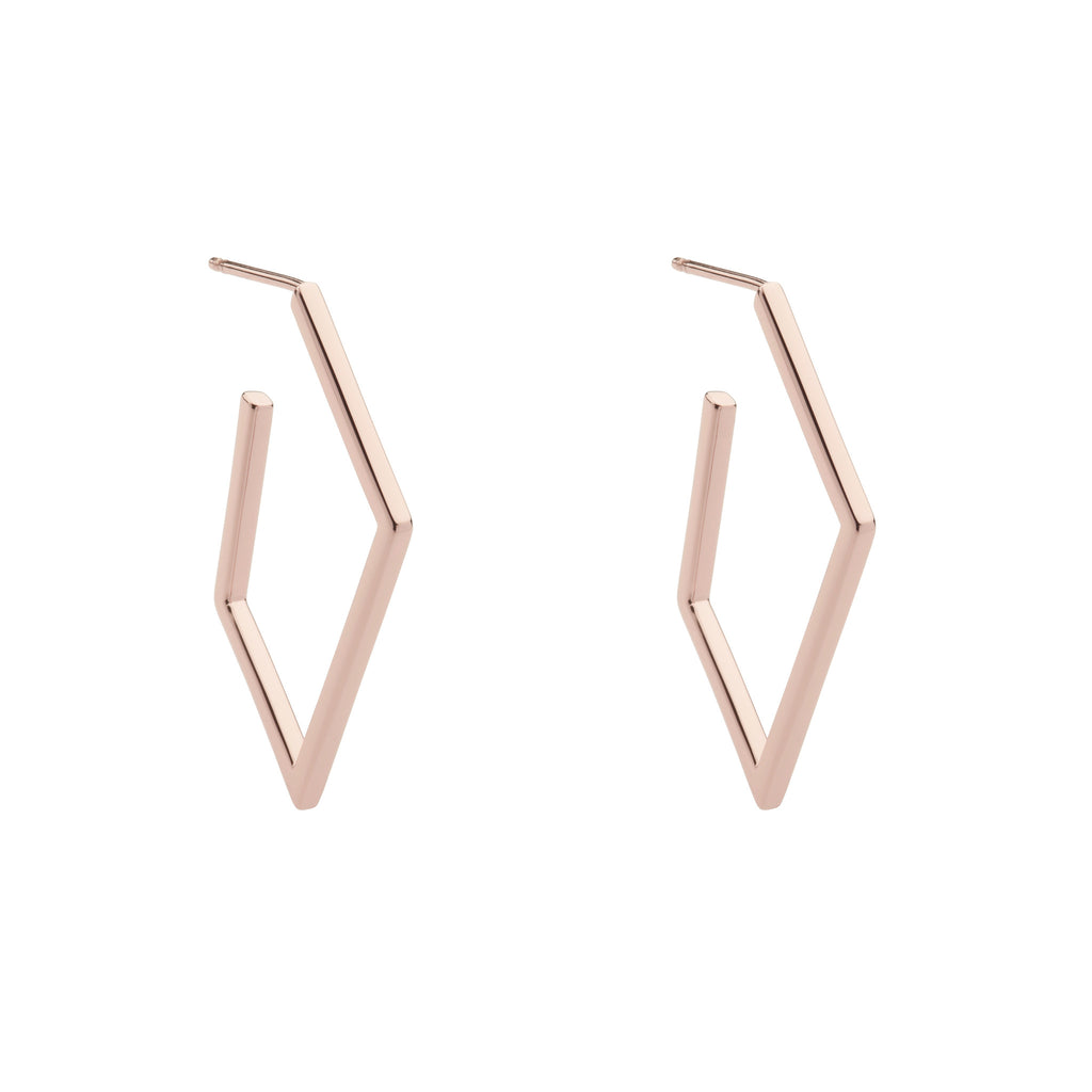 Rose finish geometric hoops