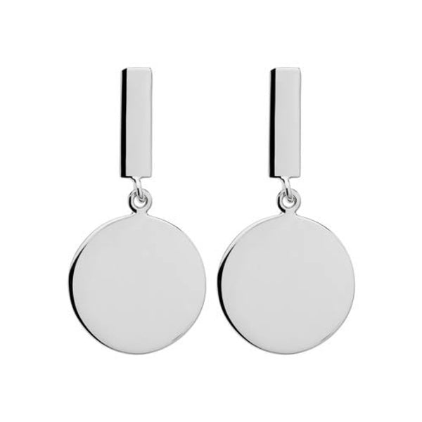 Silver circle and rectangle earrings