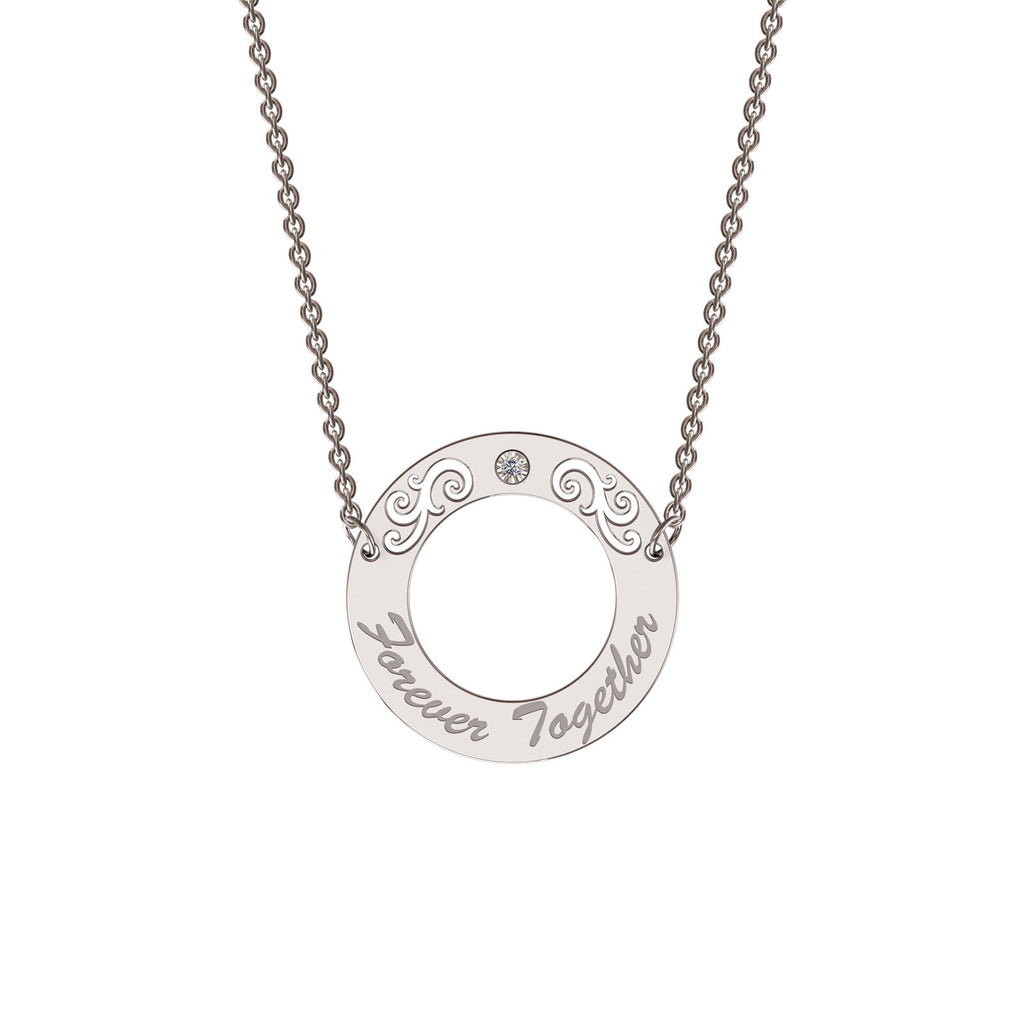 Sterling silver elaborate circle necklace with diamond