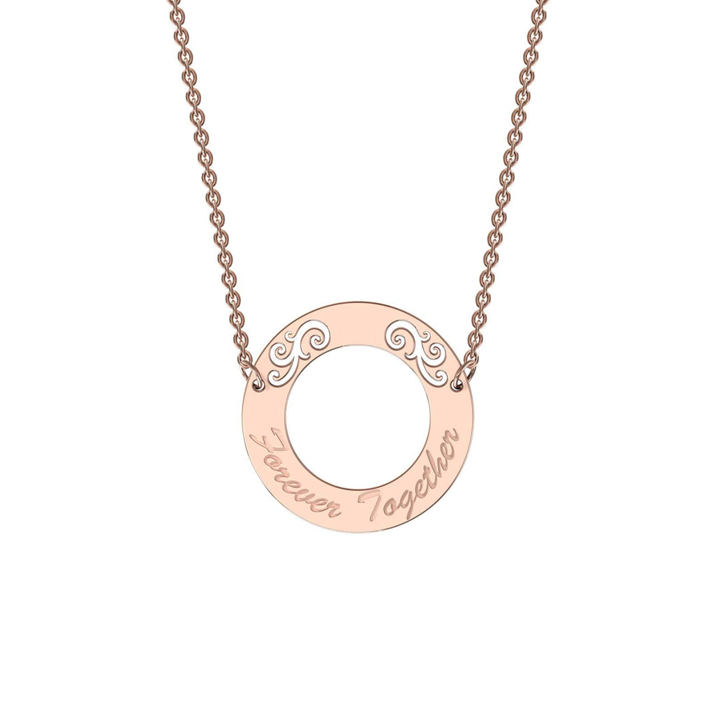 Rose gold elaborate circle necklace