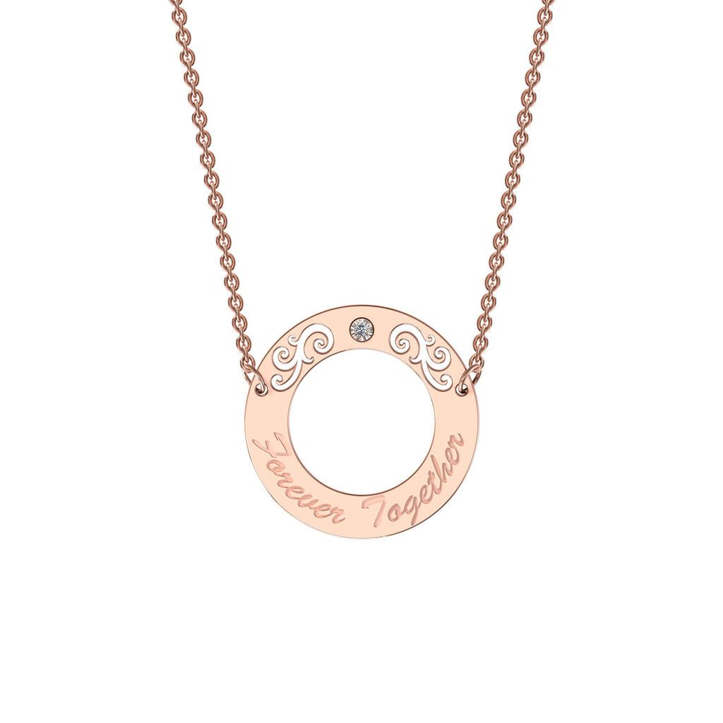 Rose gold elaborate circle necklace with diamond