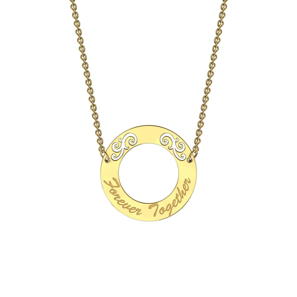 Yellow gold elaborate circle necklace