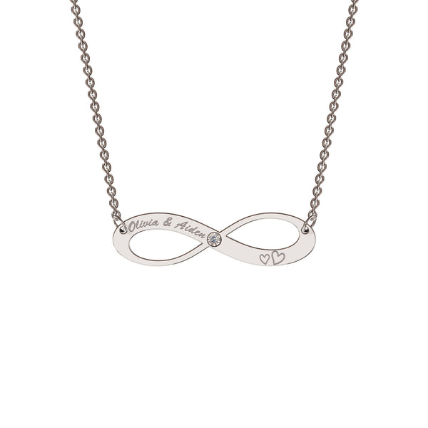 Sterling silver elaborate infinity necklace with diamond