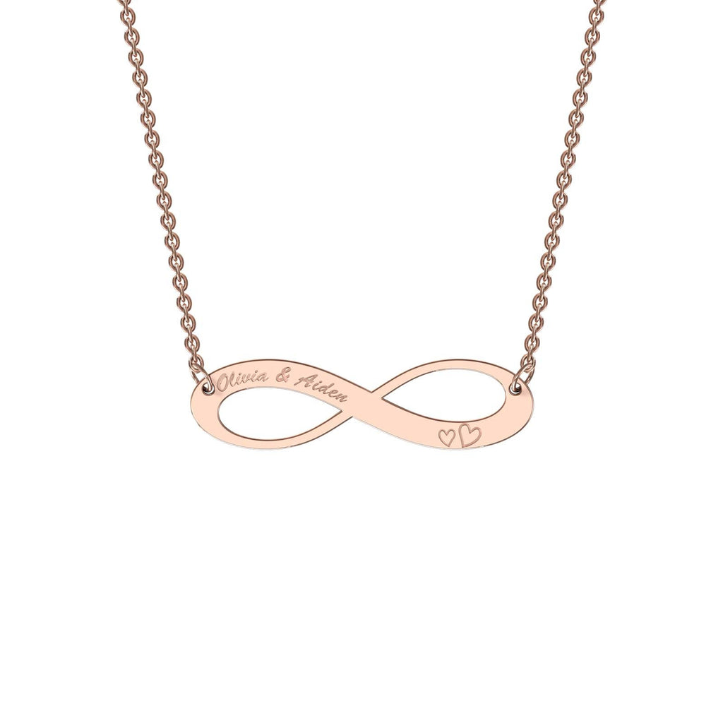 Rose gold elaborate infinity necklace