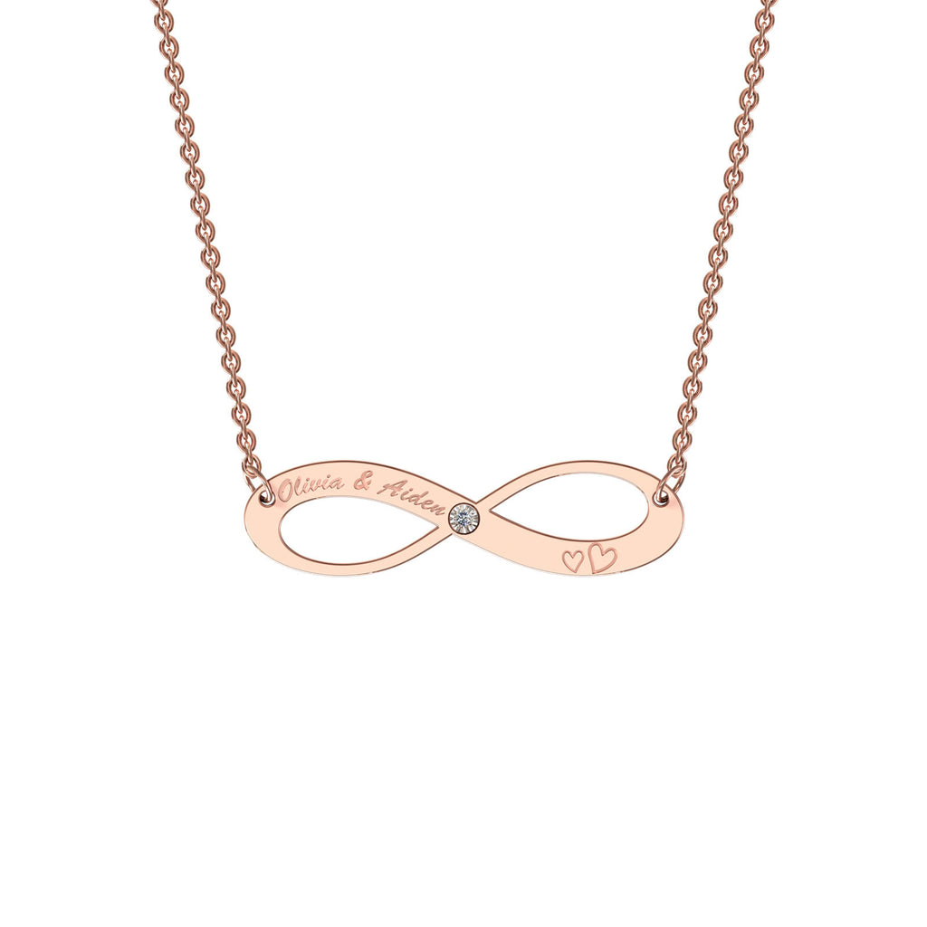 Rose gold elaborate infinity necklace with diamond