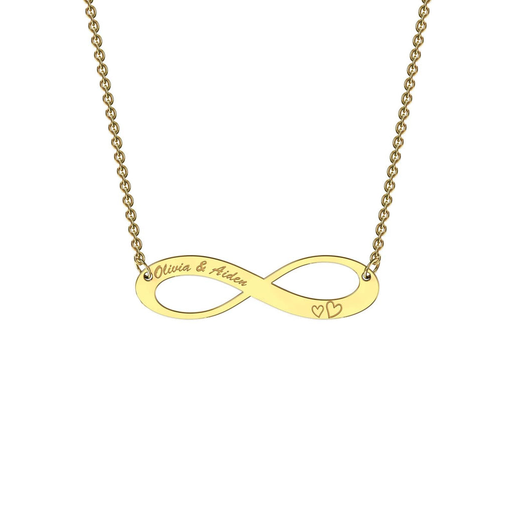 Yellow gold elaborate infinity necklace