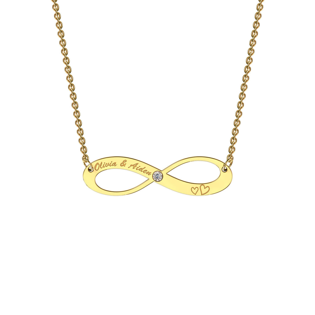 Yellow gold elaborate infinity necklace with diamond