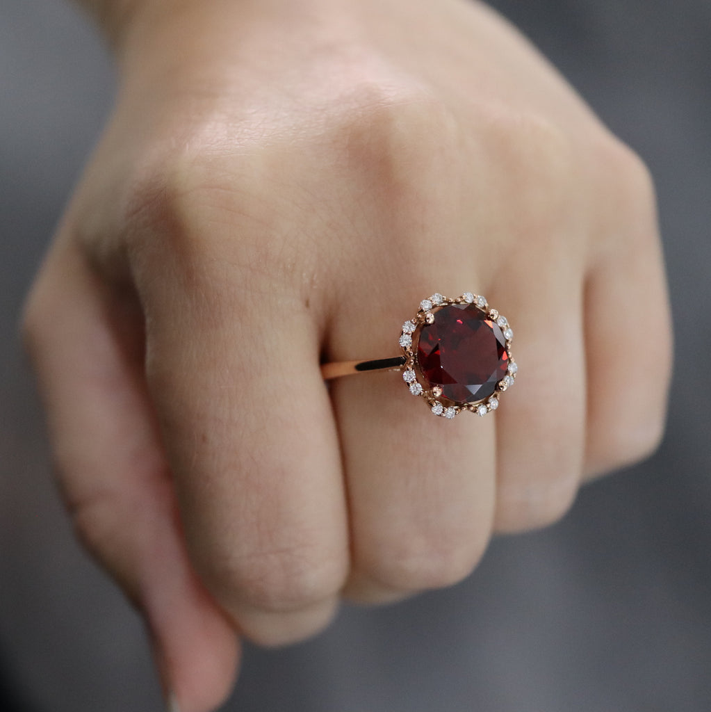 Rose Gold & Garnet Ring E1436RG