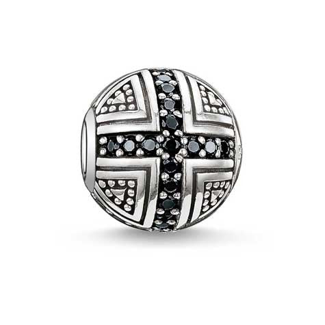 Silver and black pave Karma Beads charm