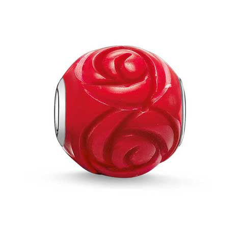 Silver and red rose Karma Beads charm