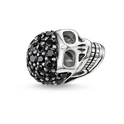 Silver and black CZ skull Karma Beads charm