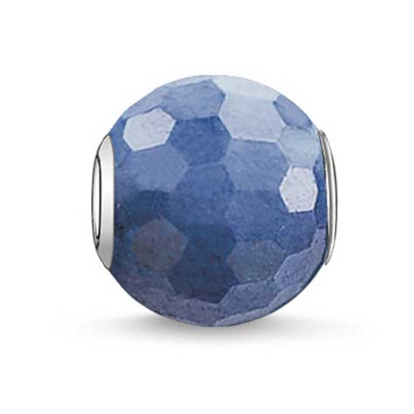 Silver and blue dumortierite Karma Beads charm