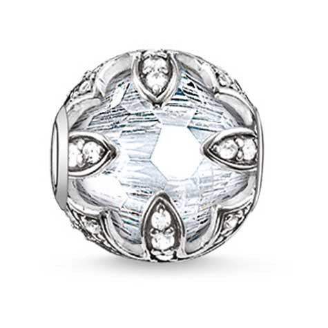 Silver and CZ lotus Karma Beads charm