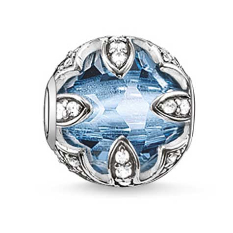 Silver and blue/clear CZ  lotus Karma Beads Charm
