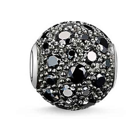 Silver and black CZ Karma Beads charm