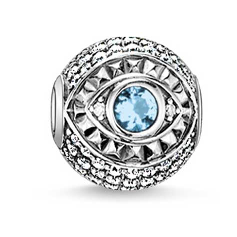 Silver and blue/clear CZ eye Karma Beads Charm