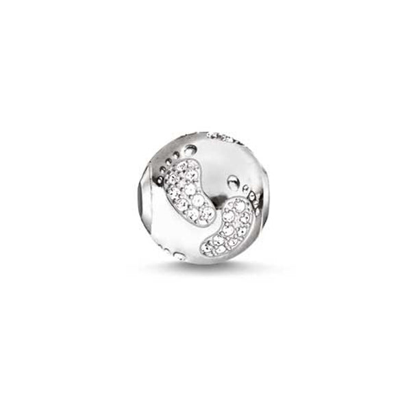 Silver and CZ footprints Karma Beads charm