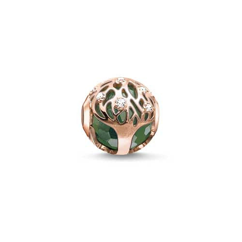 Rose finish and green aventurine tree of life Karma Beads charm